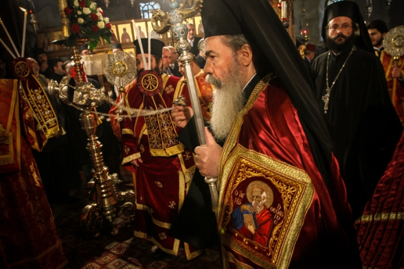 Jan 6 2013 Greek Patriarch holds Christmas liturgy in the Nativity Church – Bethlehem