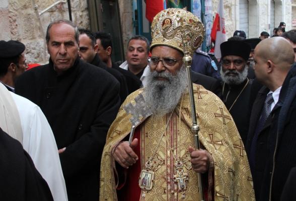 Jan 6 2013 The Ethiopian Patriarch arrives at Manger Square – Bethlehem