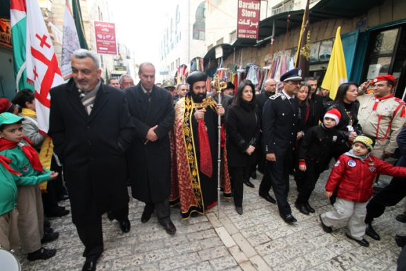 Jan 6 2013 The Syriac Archbishop arrives at Manger Square – Bethlehem