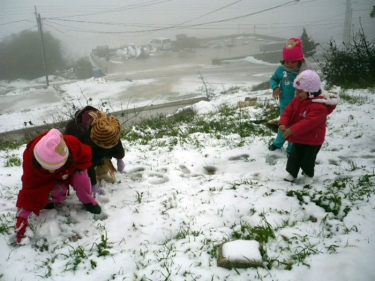 Jan 9 2013 Children playing in Snow in Palestine - Photo by PalToday
