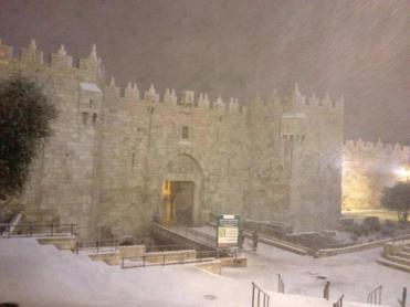 Jan 9 2013 Damascus Gate Jerusalem in snow