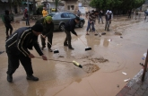 Jan 9 2013 - Volunteers clean the streets in Tulkarem - Photo by WAFA