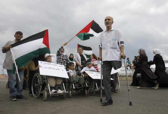 June 9 2010 Disabled Palestinians Protest in Sidon - Photo by AP