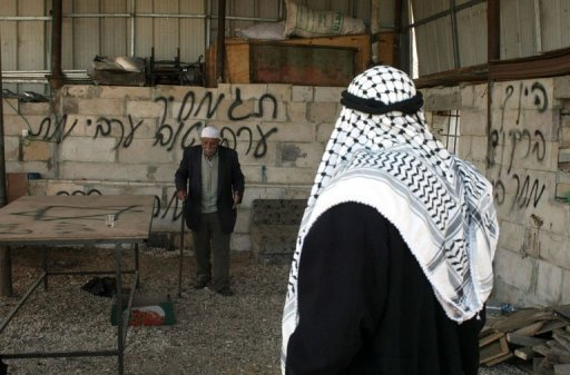 A Palestinian man walks past a wall sprayed with graffiti written in Hebrew in the village of Beit Ummar, north of the West Bank city of Hebron, on January 1, 2013. Suspected Jewish extremists have torched a vehicle in a West Bank village and scrawled racist graffiti on a nearby wall, Palestinians and Israelis said Tuesday