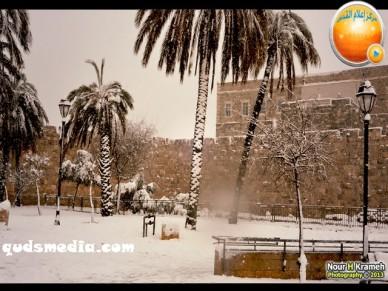 Snow in Palestine - Snow in Jerusalem Photo via QudsMedia - 12