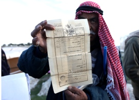 Zakaria Abu Jumaa, landowner threatened seizure of Bab al Shams -Gate of the Sun - Photo by  Mohamed Farrag 2