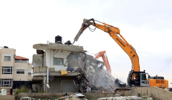 File Photo: Febr 5 2013 Beit Hanina Home Demolition Palestine - Photo by WAFA