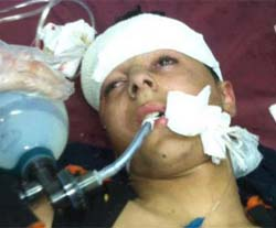 Uday Sarhan, 16, was shot in the head by Israeli soldiers in Bethlehem.
