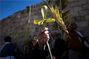 A Catholic worshiper takes part in a Palm Sunday procession on the  Mount of Olives in Jerusalem March 24, 2013. (REUTERS/Ronen Zvulun)