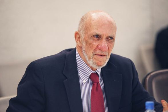 Richard Falk at press conference. Photo by Jess Hoffman, UN.