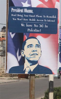 Posters have been put up across West Bank cities ahead of President Obama's visit