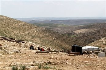 A general view of Tuba, home to 145 people, in the south Hebron hills. (MaanImages/Charlie Hoyle)