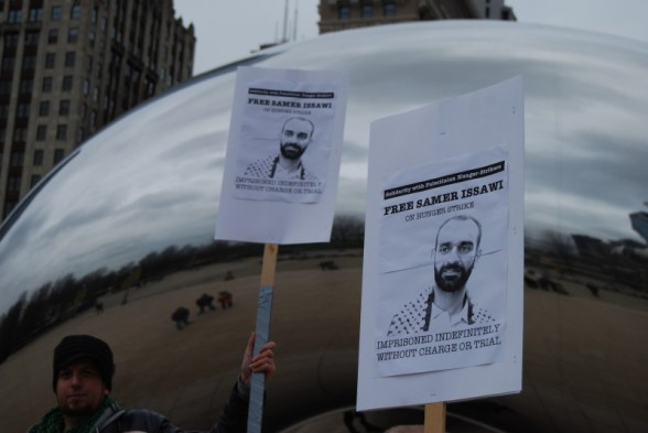 Signs at Chicago protest in solidarity with Palestinian political prisoners.