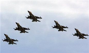 Israeli F-16 warplanes take part in a military display marking Israel's  60th anniversary in 2008. (AFP/Jack Guez, File)