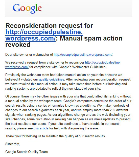 manually revoked ban google