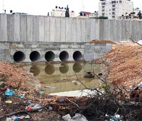 Raw sewage from the Elqana settlement is leaked directly into Al-Yarkoun, the biggest water reservoir in the West Bank