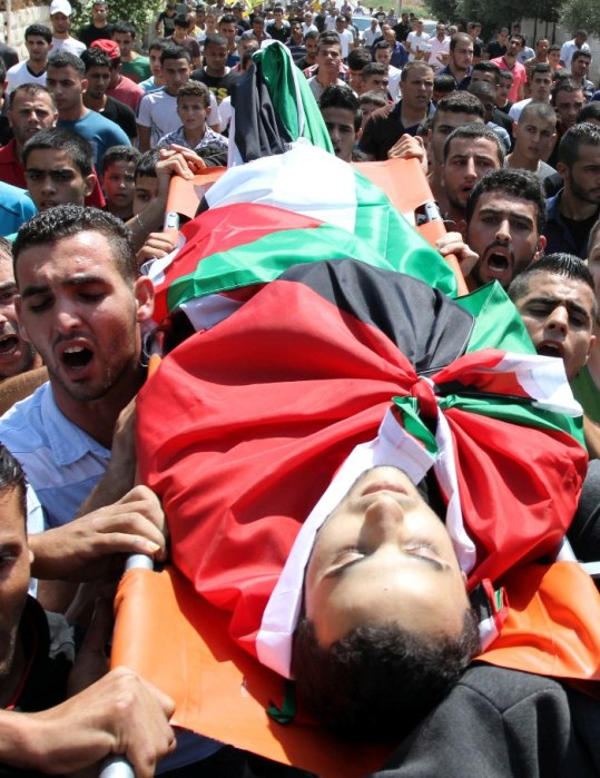 The funral of Majd Mohammad Anis Lahlouh who was shot to death today by Israel in Jenin Refugee camp Photo by Ayman Nubana - WAFA