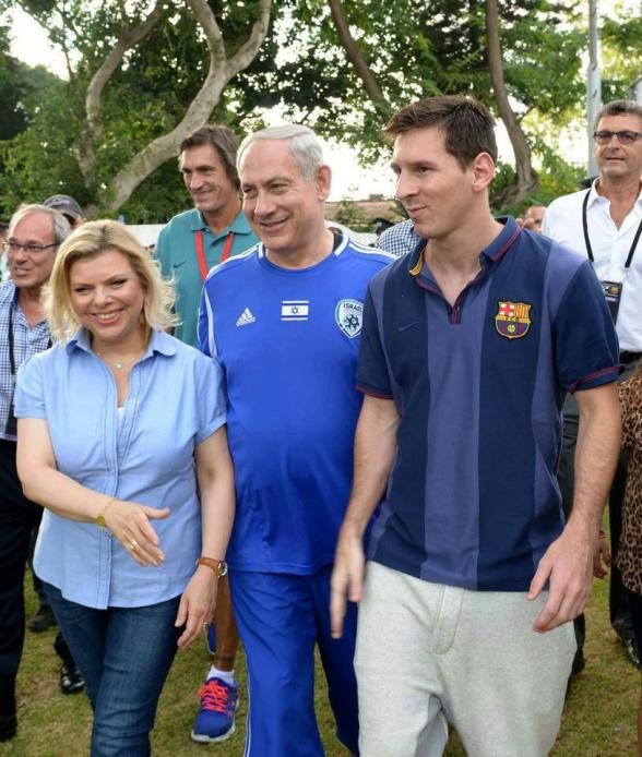 Messi with the Netanyahus. @FCBarcelona in Palestine/Israel should have stuck to pictures with children.  Photo via Kamal Hawwash