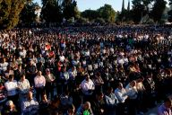 Jerusalem - Citizens perform the Eid prayer on Temple Mount - Oct 15 2013 - Photo by Afif Emira - WAFA