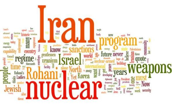 Netanyahu speech word cloud shows word usage. Iran occupies his mind while he occupies & barely mentions Palestinians - Word Cloud by Yousef Munayyer