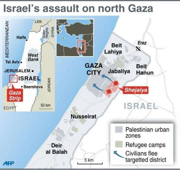 assault on Shejaiya Gaza Palestine Massacre - Map