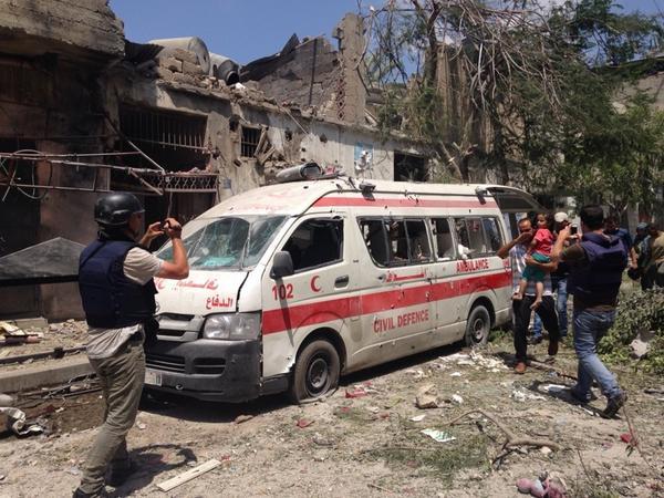 Photo via William Booth :  Ambulance abandoned in Shajaiya.