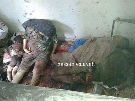 A picture of a whole family dead in Alshojaeya.. Photo via @GYBO