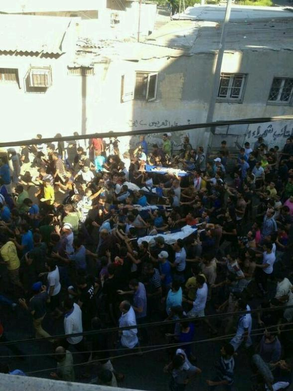 The funeral of 4 kids who were murdered with cool blood by Israel drones - Photo by Hind Meqdad ‏