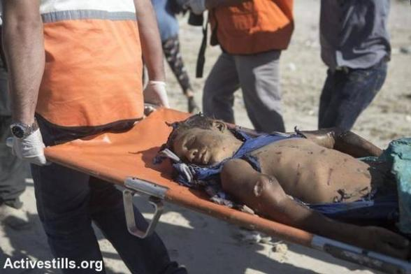 One of the Baker children killed by Israel's latest airstrike on a cafe on Gaza beach. - Photo by ActiveStills