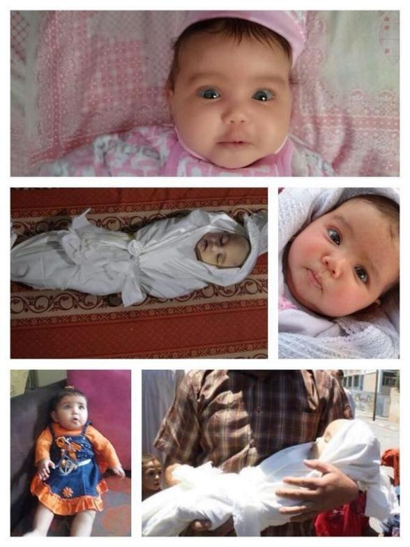 Lama Al Satari, 5 months old.She was killed in an Israeli airstrike on Rafah Photo via Al Qassam (@Qassamfeed)