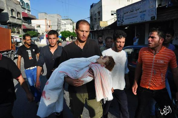 "The funeral of 3 martyrs of ""Alradee family"" at northern #Gaza Strip - Photo via @saidshouib"