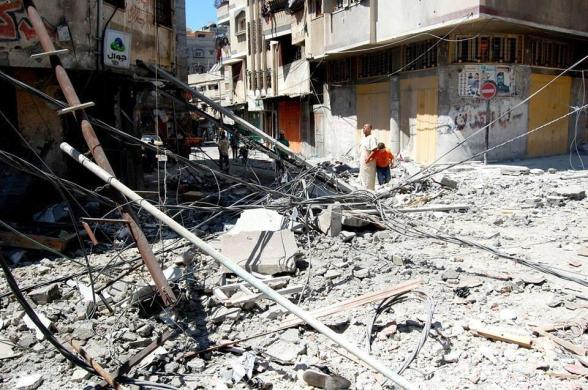 "Israeli aircraft bombed ""Alshamaa Mosque"" Today in Gaza City - Photo via @saidshouib"
