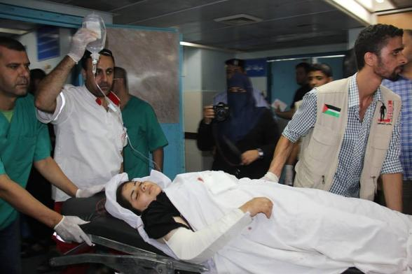 Wounded who arrived to the AlShifa hospital from the bombed school in  BeitHanoun - Photo via @saidshouib