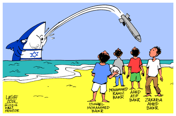 Image result for UN LOGO AND GAZA CARTOON
