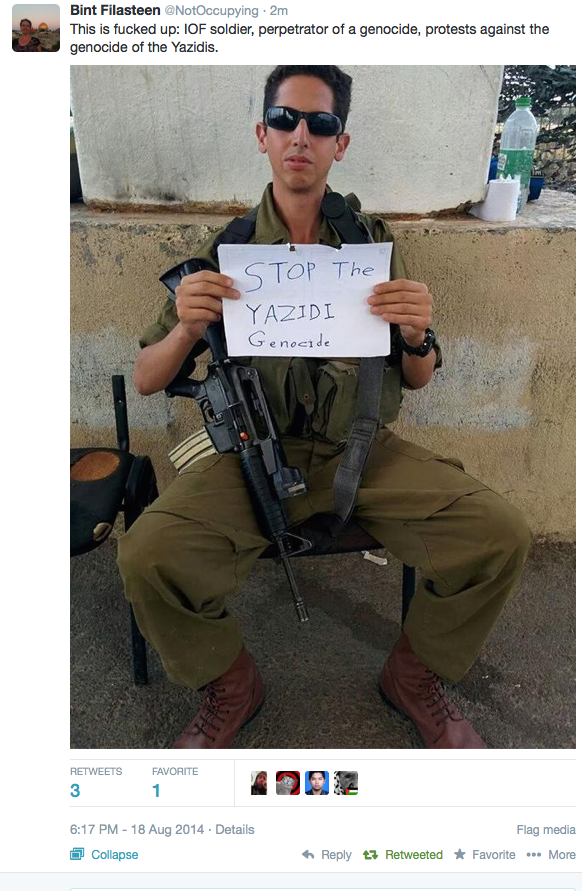 Stop Yazidi genocide by IOF soldier PM