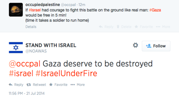Troll calls for Gaza to be destroyed  2014-07-21 at 22.56.27 PM