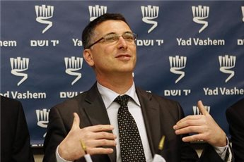 Then Israeli Education Minister Gideon Saar pictured at a press conference at the Yad Vashem Holocaust memorial museum in Jerusalem on February 1, 2012.(AFP/File Gali Tibbon)