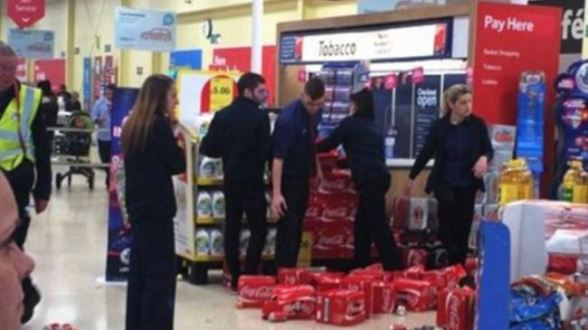 The picture shows the Hodge Hill Tesco branch in Birmingham after an anti-Israeli protest on August 16, 2014.