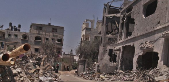 Complete destruction in Beit Hanoun , Gaza