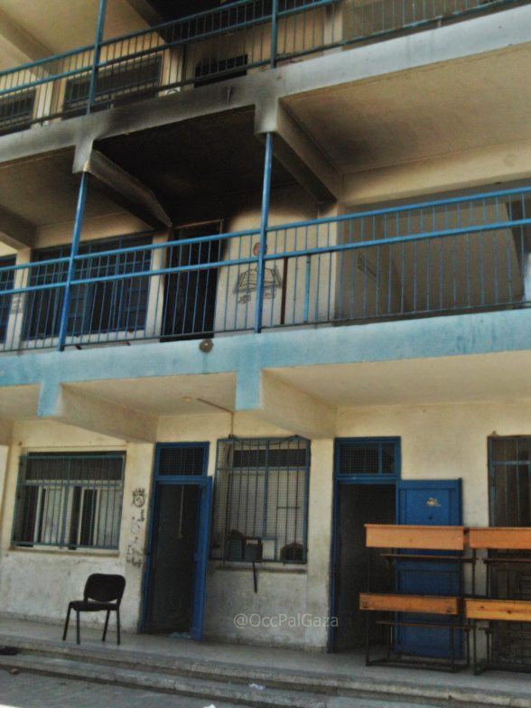 Shelled classroom of UNRWA school Beit Hanoun